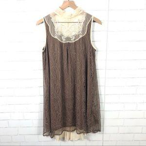 Altar'd State Lace Boho Dress High Neck